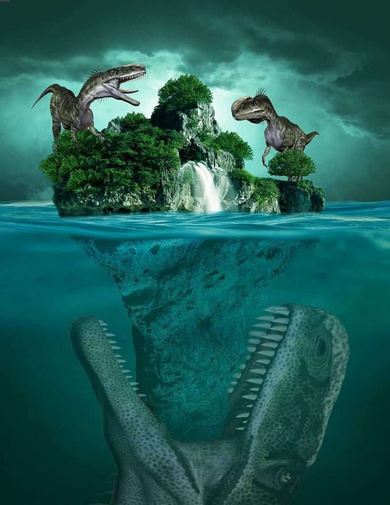Soñar con dinosaurios en el agua